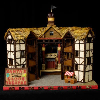 Gingerbread globe theatre with a gingerbread sign that says Santa's Globe Theatre.