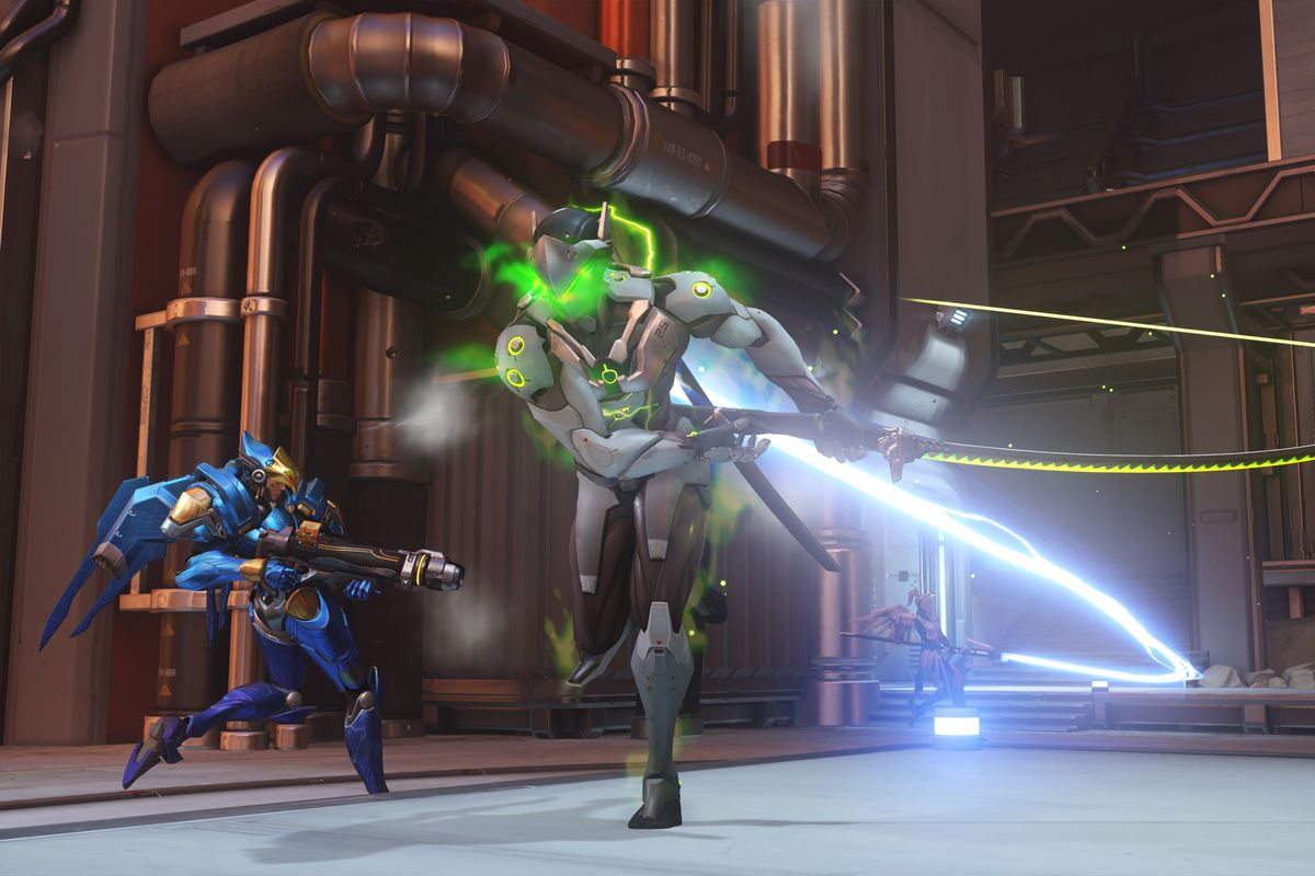 Genji uses his ult near Pharah in a screenshot from Overwatch