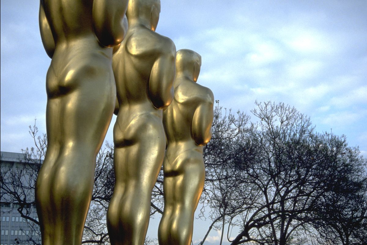 The Oscars are not actually this large. That would be hard to carry.