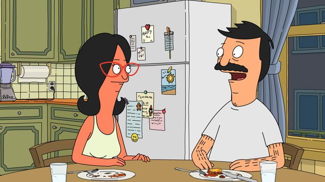"Bob and a sunburned Linda at their kitchen table in a screenshot from Bob's Burgers, season 10, episode 1, ""The Ring But Not Scary"""