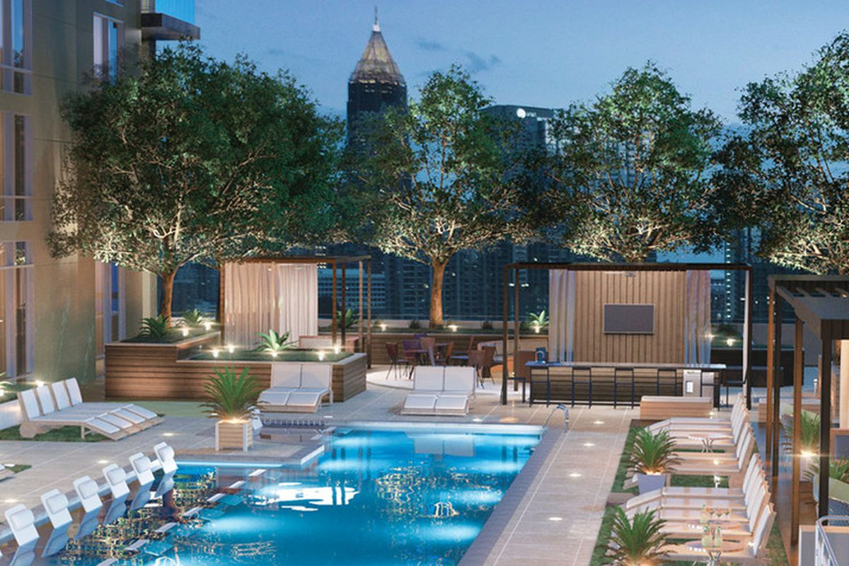 The projected look of an amenities level, with cabanas, at Piedmont House.