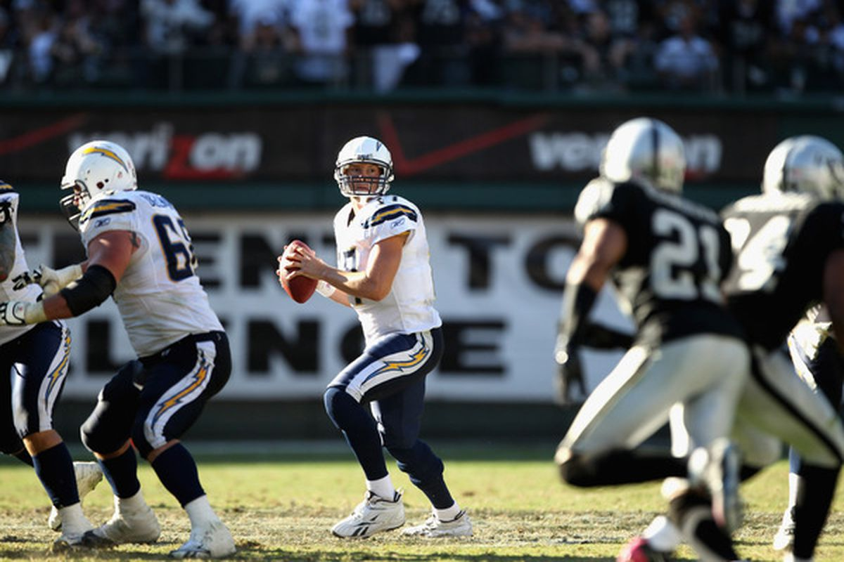 OAKLAND, CA - OCTOBER 10:  Philip Rivers #17 of the San Diego Chargers drops back to pass against the Oakland Raiders at Oakland-Alameda County Coliseum on October 10, 2010 in Oakland, California.  (Photo by Ezra Shaw/Getty Images)