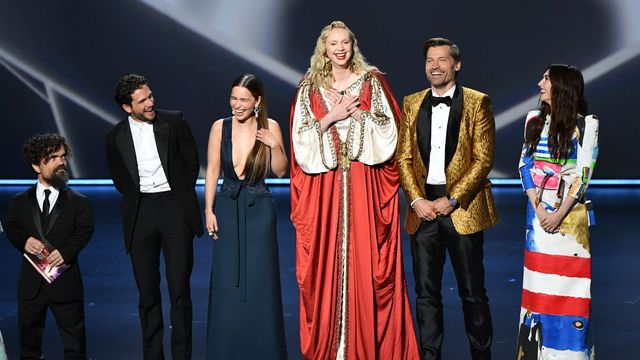 Peter Dinklage, Kit Harington, Emilia Clarke, Gwendoline Christie, Nikolaj Coster-Waldau, and Carice van Houten hold court at the Emmys