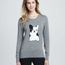 """<b>French Connection</b> Sequined-Bulldog Sweater, <a href=""""http://www.cusp.com/product.jsp?rte=%252Fsearch.jsp%253FN%253D0%2526Ntt%253Dsweater%2526_requestid%253D28551&seoDesigner=French+Connection&icid=&seoCategory=&parentId=&eItemId=prod8160020&seoProd"""