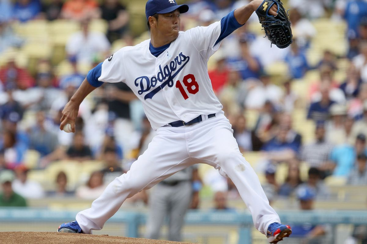 LOS ANGELES, CA - JUNE 19:  Hiroki Kuroda #18 of the Los Angeles Dodgers throws a pitch against tthe Houston Astros on June 19, 2011 at Dodger Stadium in Los Angeles, California. The Dodgers won 1-0.  (Photo by Stephen Dunn/Getty Images)