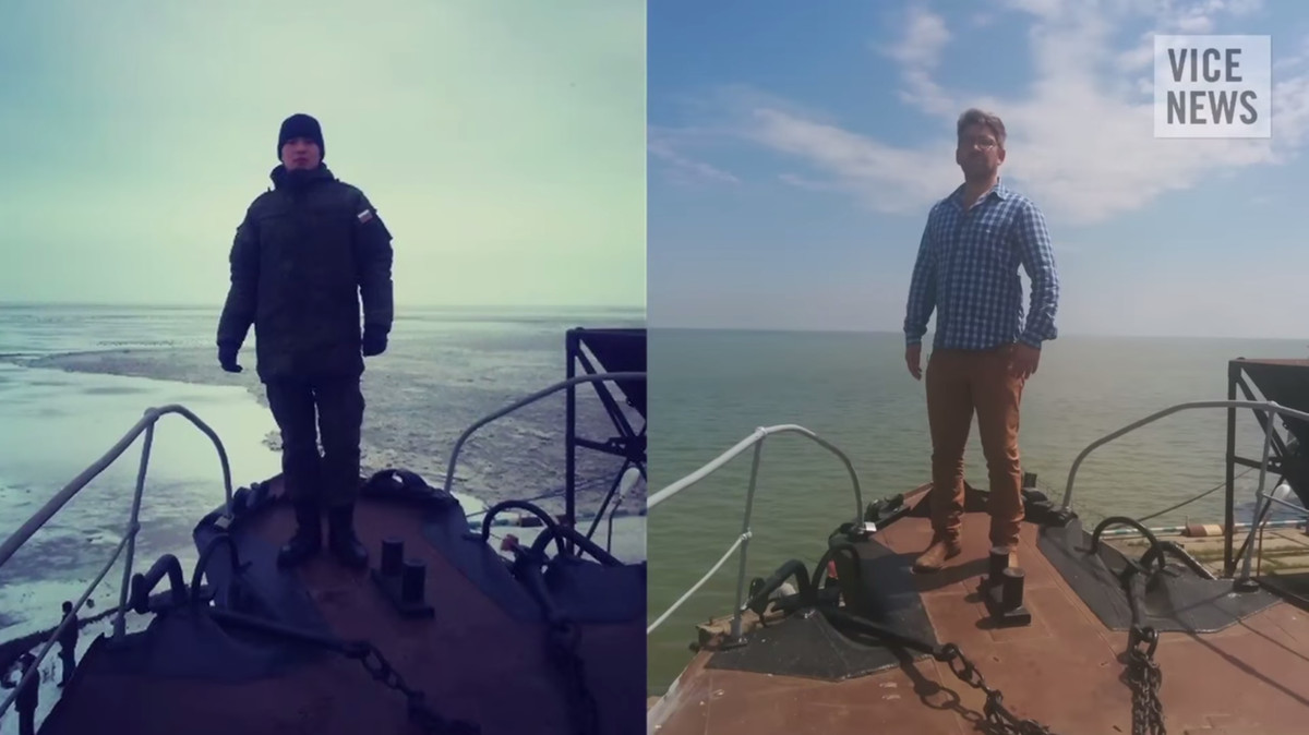 Vice News Simon Ostrovsky, right, reproduces a photo that Russian Soldier Bato Dambaev, left, posted of himself while deployed near Ukraine (Vice News)