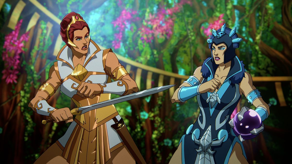 Teela and Evil-Lyn face off in a lush garden in Masters of the Universe: Revelation