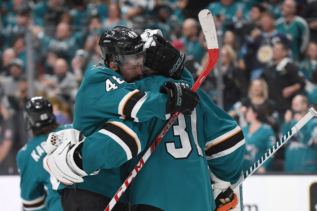Tomas Hertl and Martin Jones of the San Jose Sharks celebrates after they defeated the Colorado Avalanche 3-2 in Game Seven of the Western Conference Second Round during the 2019 NHL Stanley Cup Playoffs at SAP Center on May 8, 2019 in San Jose, Californi