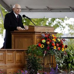 Elder Dallin H. Oaks speaks to the thousands that turned out in the rain Saturday, Oct. 8, 2011 for the ground breaking for the Payson Temple.
