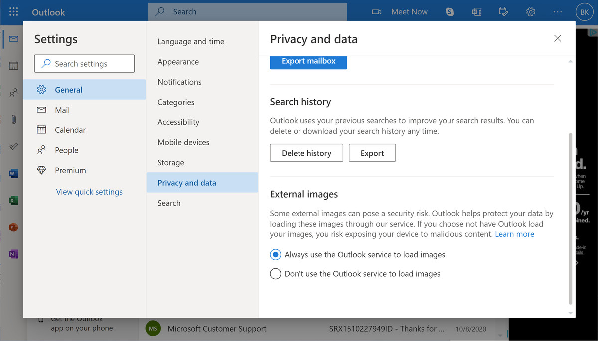 Outlook.com can route incoming images through its own service.