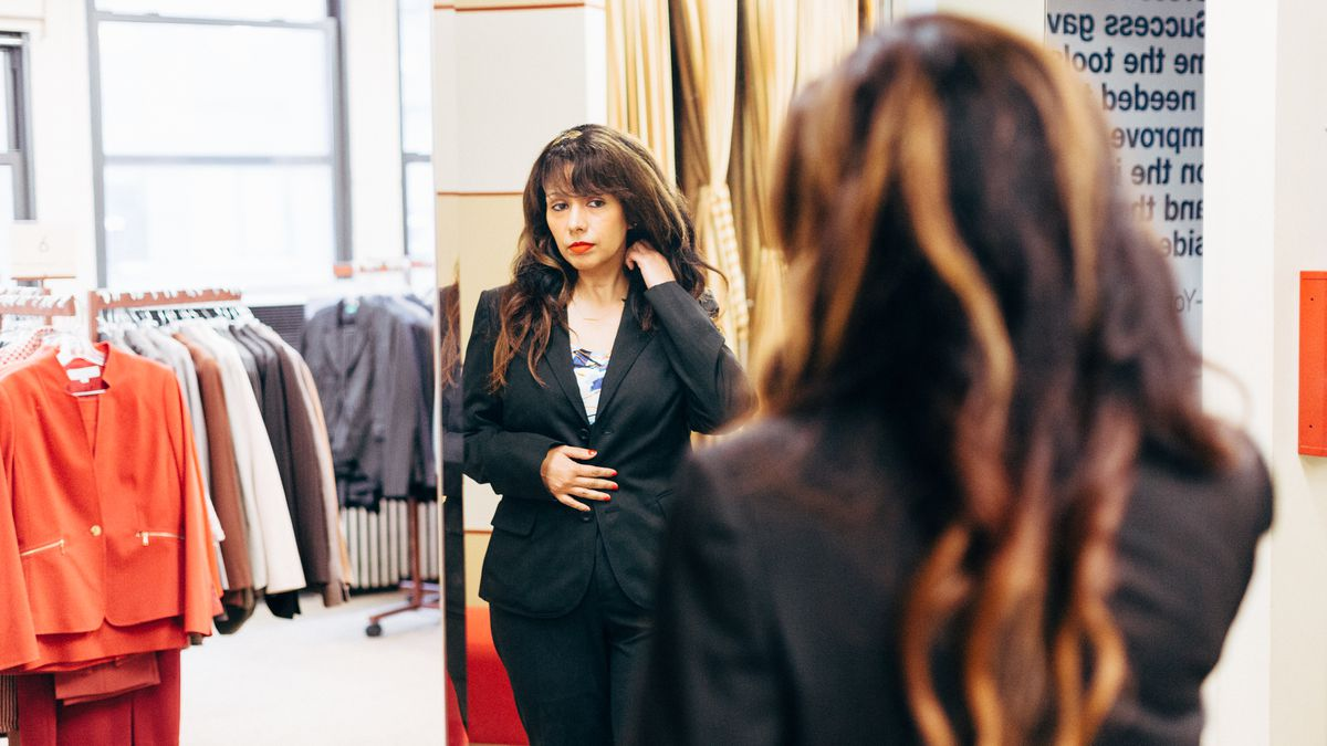 Dress for Success client Maria Kambitsis at the organization's Manhattan boutique.