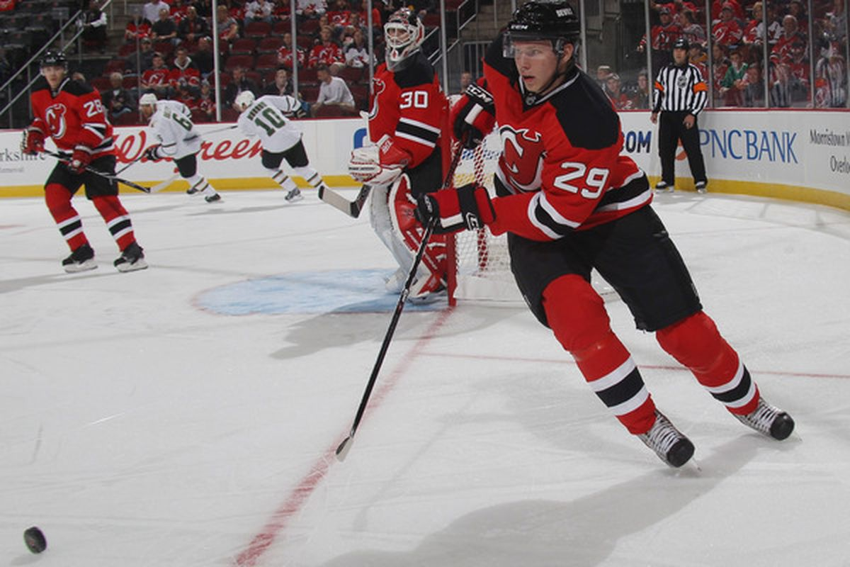 Alexander Urbom (#29) is seen here in one of the 7 games he played this season for New Jersey. This post will explain why he shouldn't play anymore in New Jersey in 2010-11.  (Photo by Bruce Bennett/Getty Images)