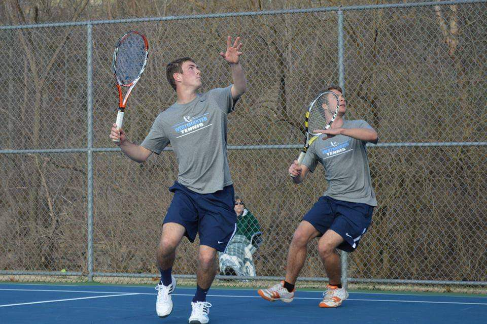Scott Strough, right, with Kyle, his doubles partner at Westminster College.