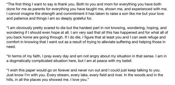 Read Peter Kassig's heartbreaking letter to his parents - Vox