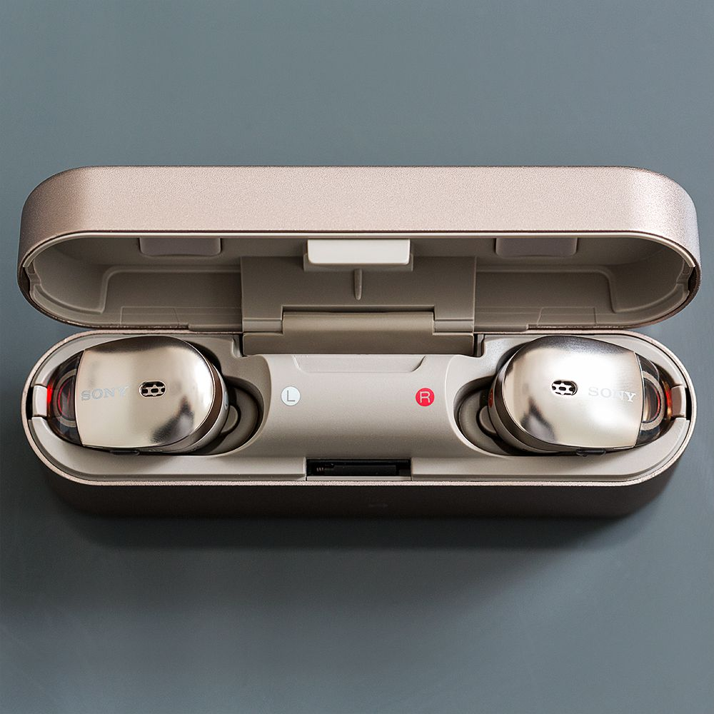 Sony Truly Wireless Earbuds Review A Flawed First Try The Verge Apple Earpods Wire Diagram Metal Charging Case Looks Like An Elongated Pill When Looking At It From Top Since Its Fairly Slim Still What Id Consider Pocketable