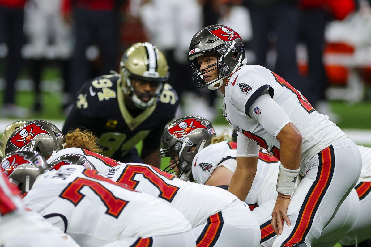 Tampa Bay Buccaneers quarterback Tom Brady under center against the New Orleans Saints during the first quarter at the Mercedes-Benz Superdome.