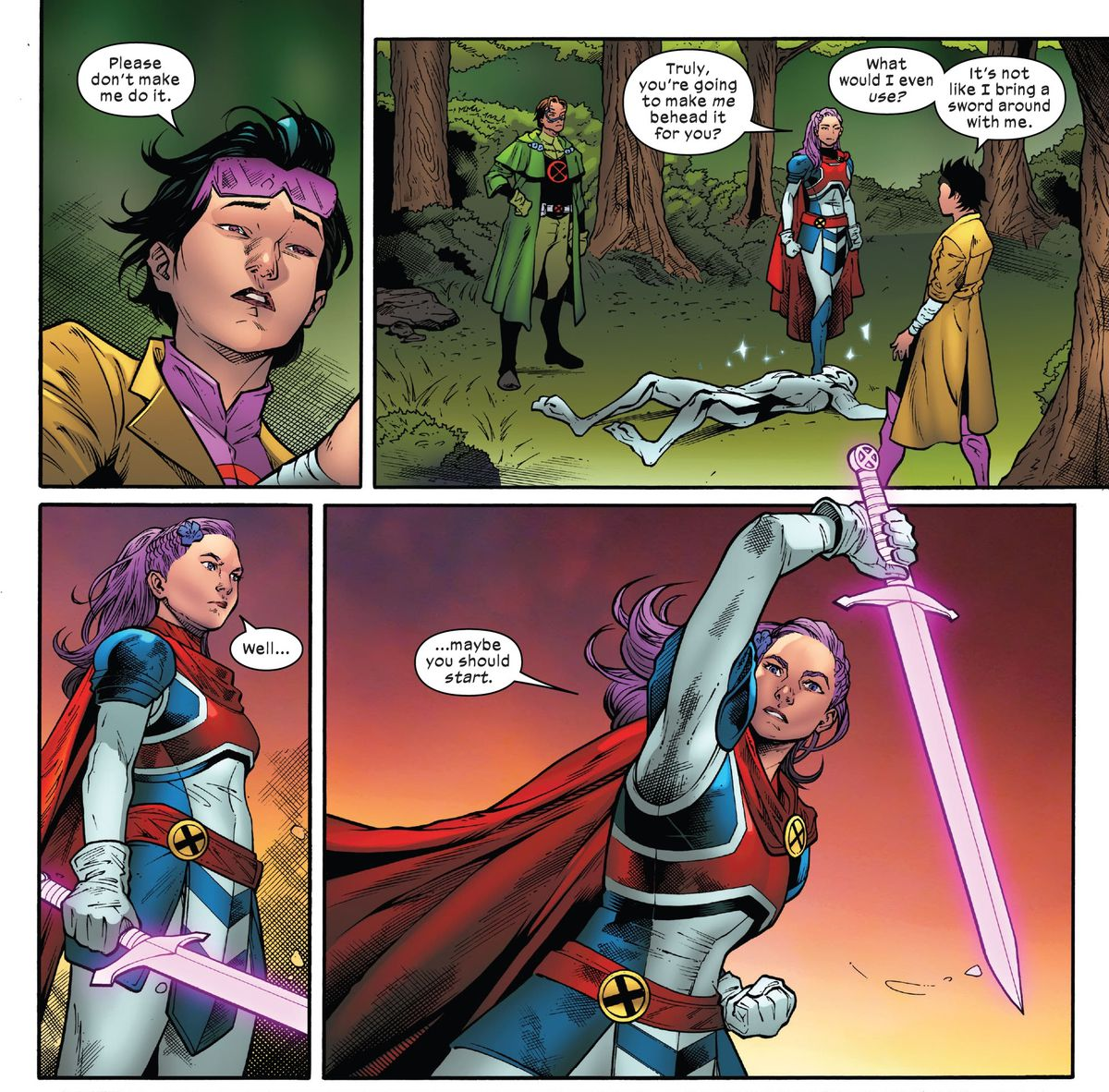 """Jubilee protests that she can't behead the warwolf, because she doesn't carry a sword around with her. """"Well... maybe you should start,"""" says Betsy Braddock/Captain Britain, raising her sword, in Excalibur #8, Marvel Comics (2020)."""