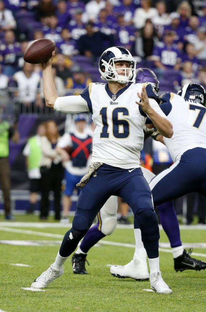 Los Angeles Rams quarterback Jared Goff (16) throws a pass. (AP Photo/Bruce Kluckhohn)