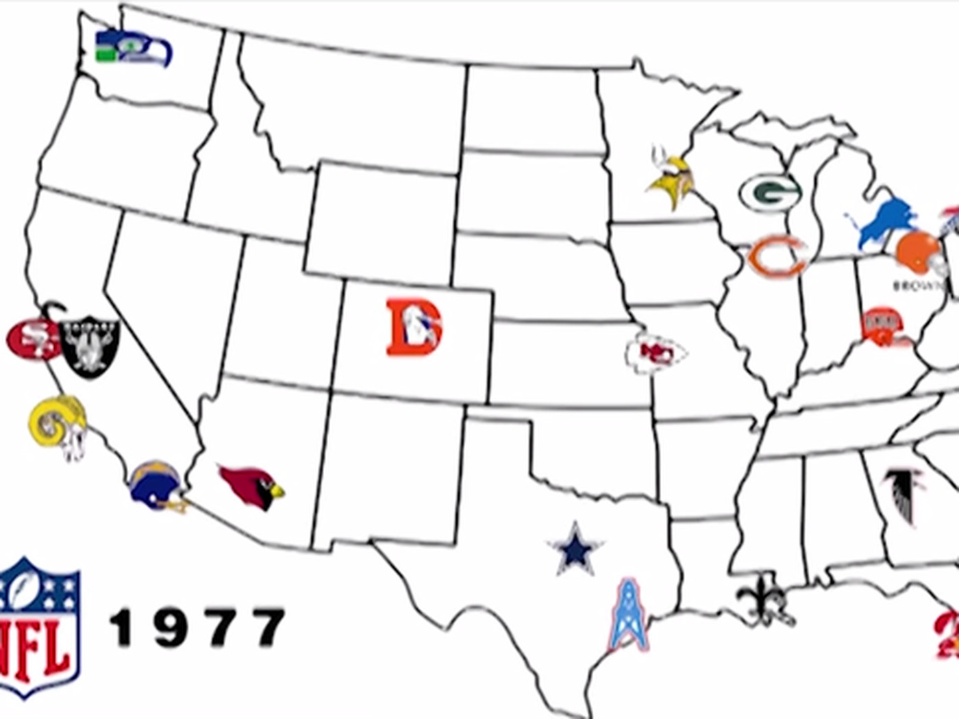 This map shows the NFL's evolution in 2 minutes - SBNation.com Map Nfl Teams on super bowl team map, basketball team map, pittsburgh steelers map, favorite baseball team map, major league baseball team map, fifa team map, nfc team map, nhl team map, new england patriots map, mlb team map, cincinnati reds map, qmjhl team map, nhl fan map, nba team map, ncaa team map, cfl team map, hockey team map, mls team map, washington redskins map, afl team map,