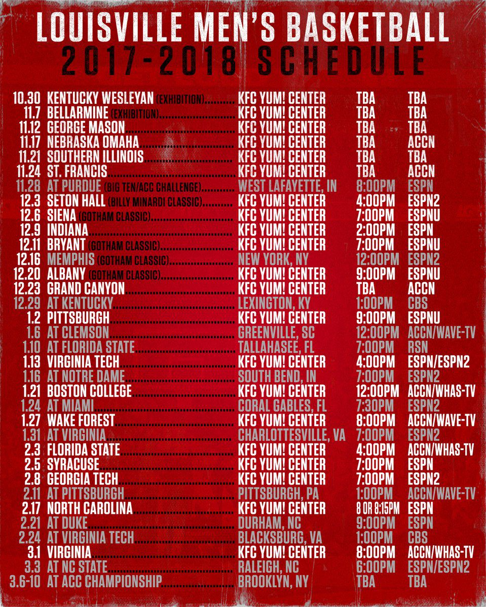 louisville releases full 2017-18 basketball schedule - card chronicle