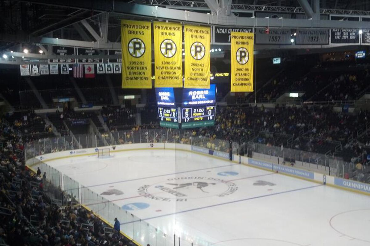 The Dunkin Donuts Center in Providence, RI site Matthew Peca's hat trick in the East Regional Final.