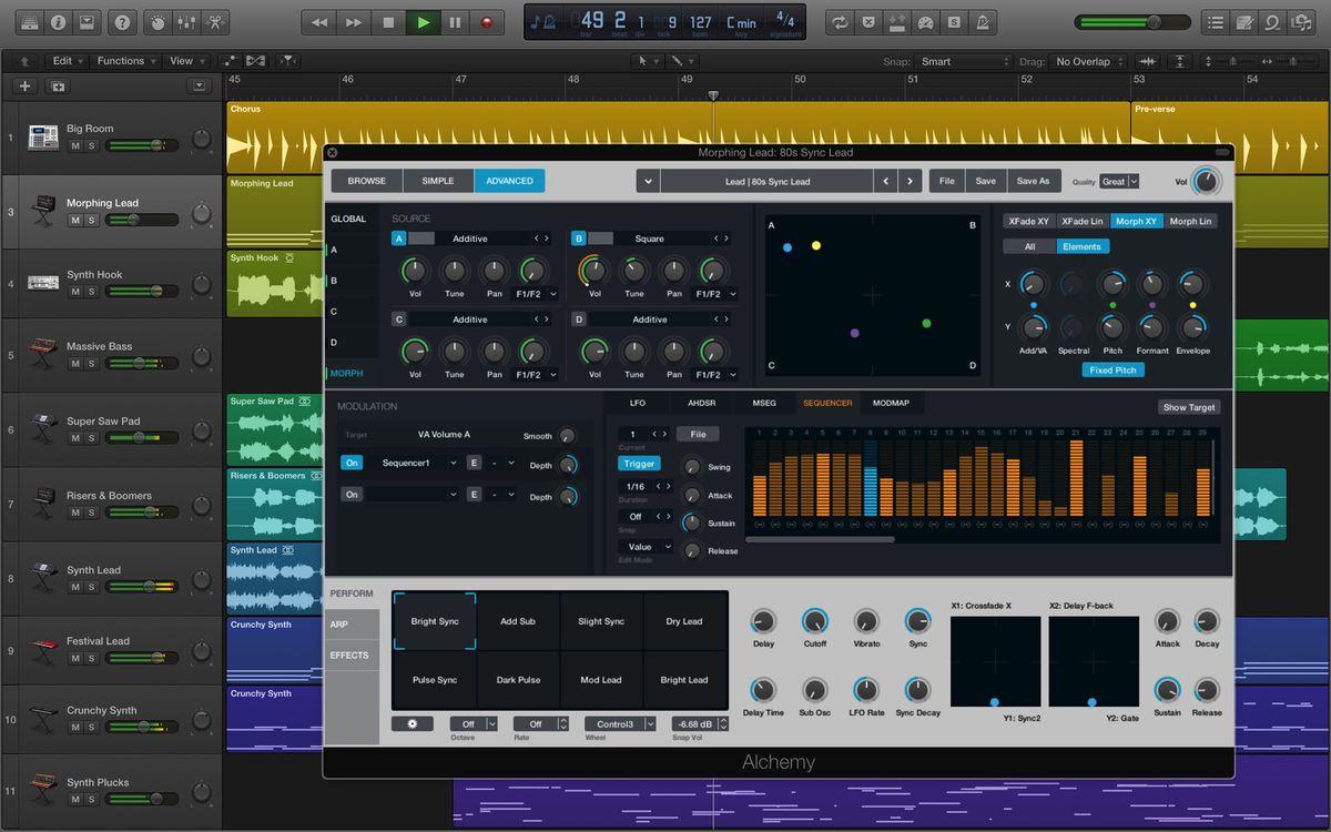 Apple Logic Pro X Alchemy synthesizer