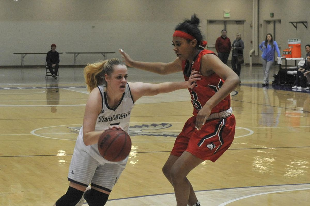 Westminster's Sydnee Taylor (left) drives around the CSU-Pueblo defender in their game held at home on Friday, Dec. 8.