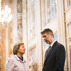 Baroness Emma Nicholson of Winterbourne, a member of the House of Lords, welcomes UVU President Matt Holland to Parliament on Monday, July 10, 2017.