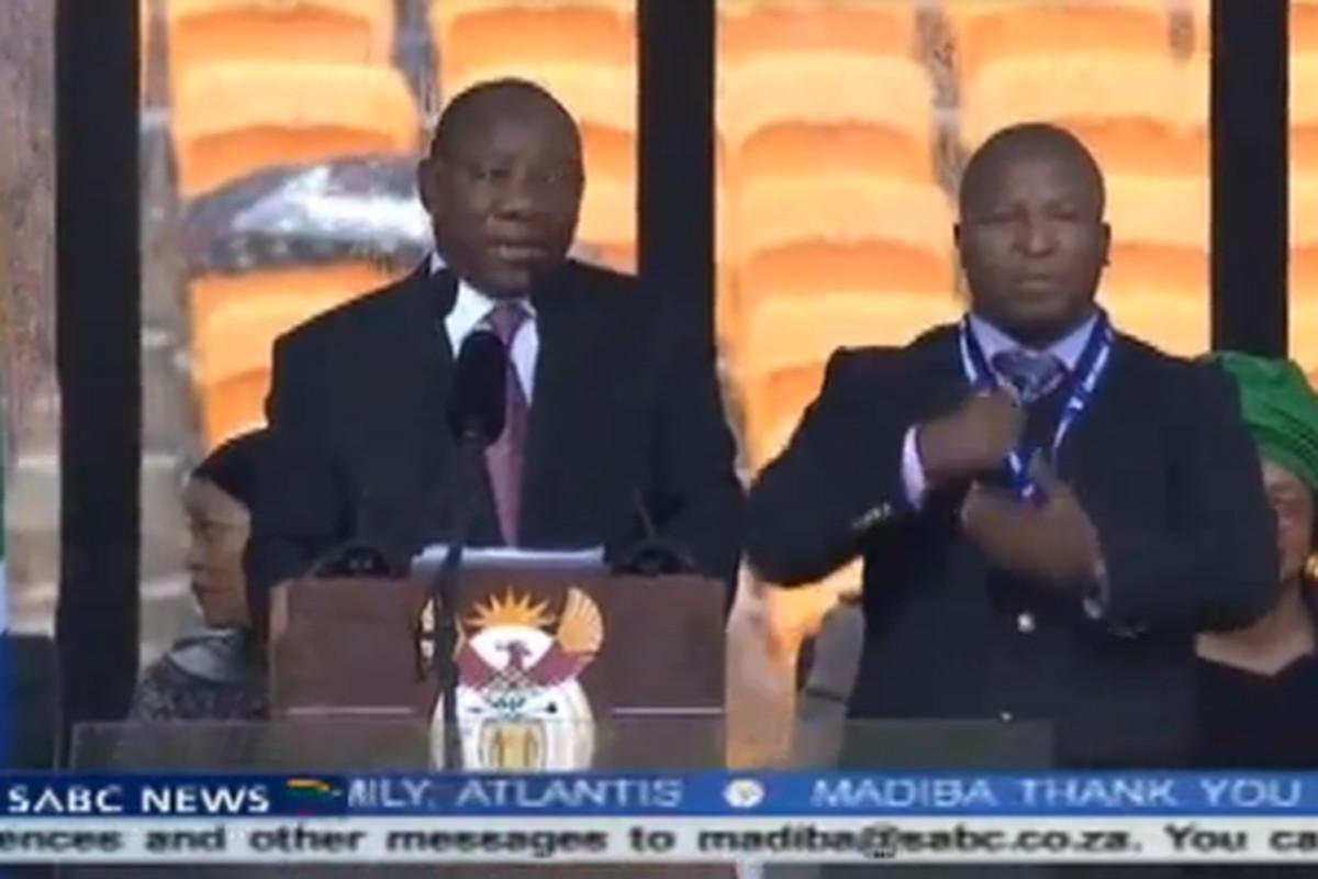 Nelson Mandela memorial fake sign language interpreter