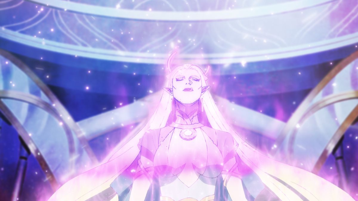 A white-haired woman surrounded by glowing violet light in DOTA: Dragon's Blood