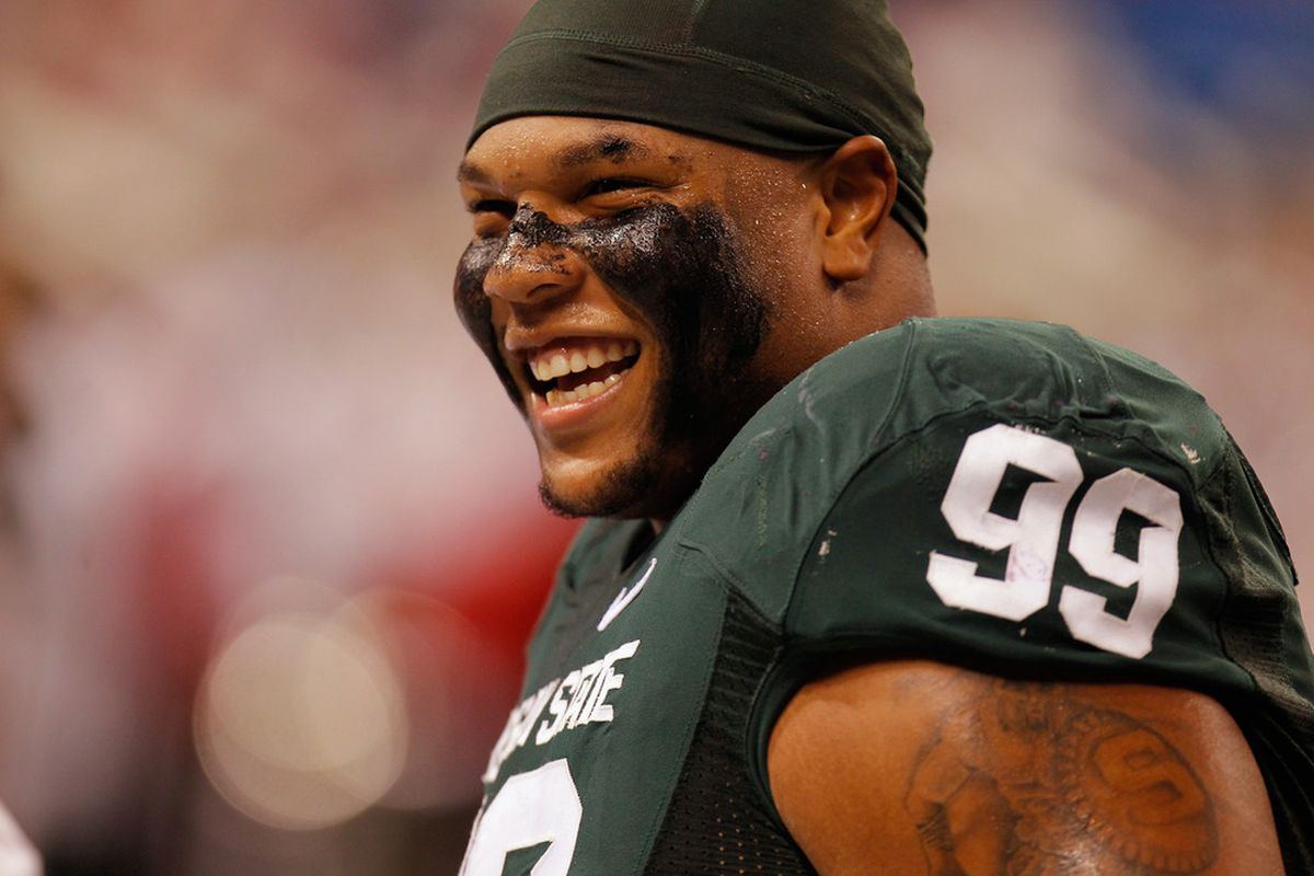 Jerel Worthy (99) of the Michigan State Spartans looks on against the Wisconsin Badgers during the Big 10 Conference Championship Game at Lucas Oil Stadium on December 3, 2011 in Indianapolis, Indiana.  (Photo by Gregory Shamus/Getty Images)