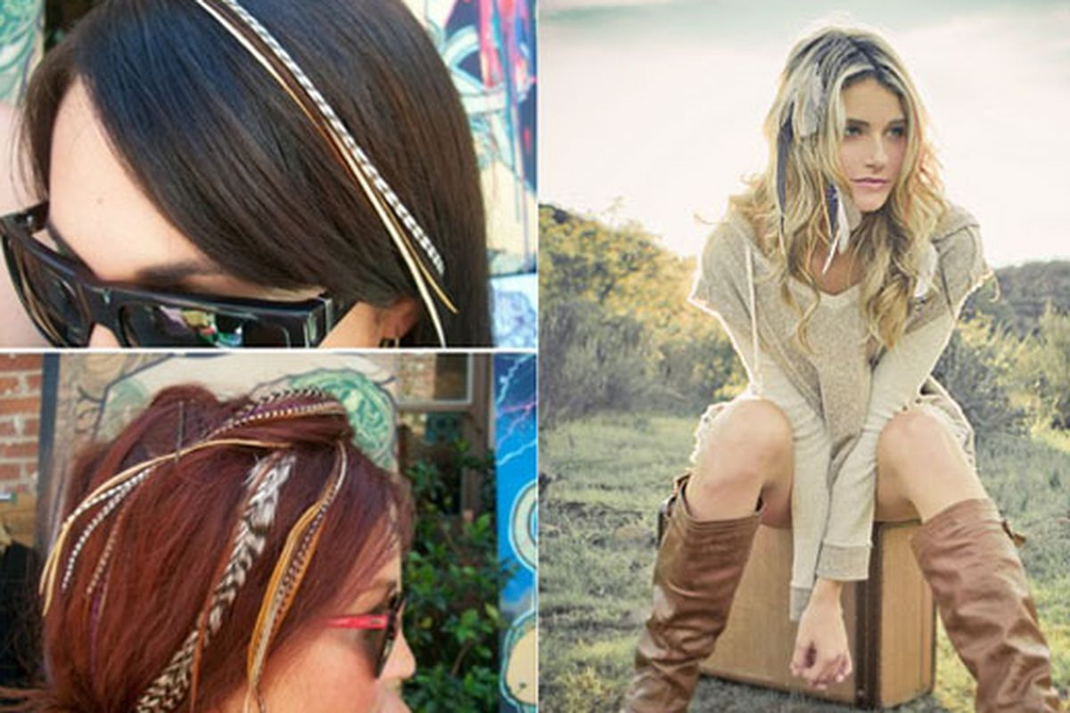 """At left, the Chic N Headz girls; right LoveChild's locks rocks. LoveChild image via <a href=""""http://shopplanetblue.blogspot.com/2011/02/birds-of-feather.html"""">Planet Blue</a>."""