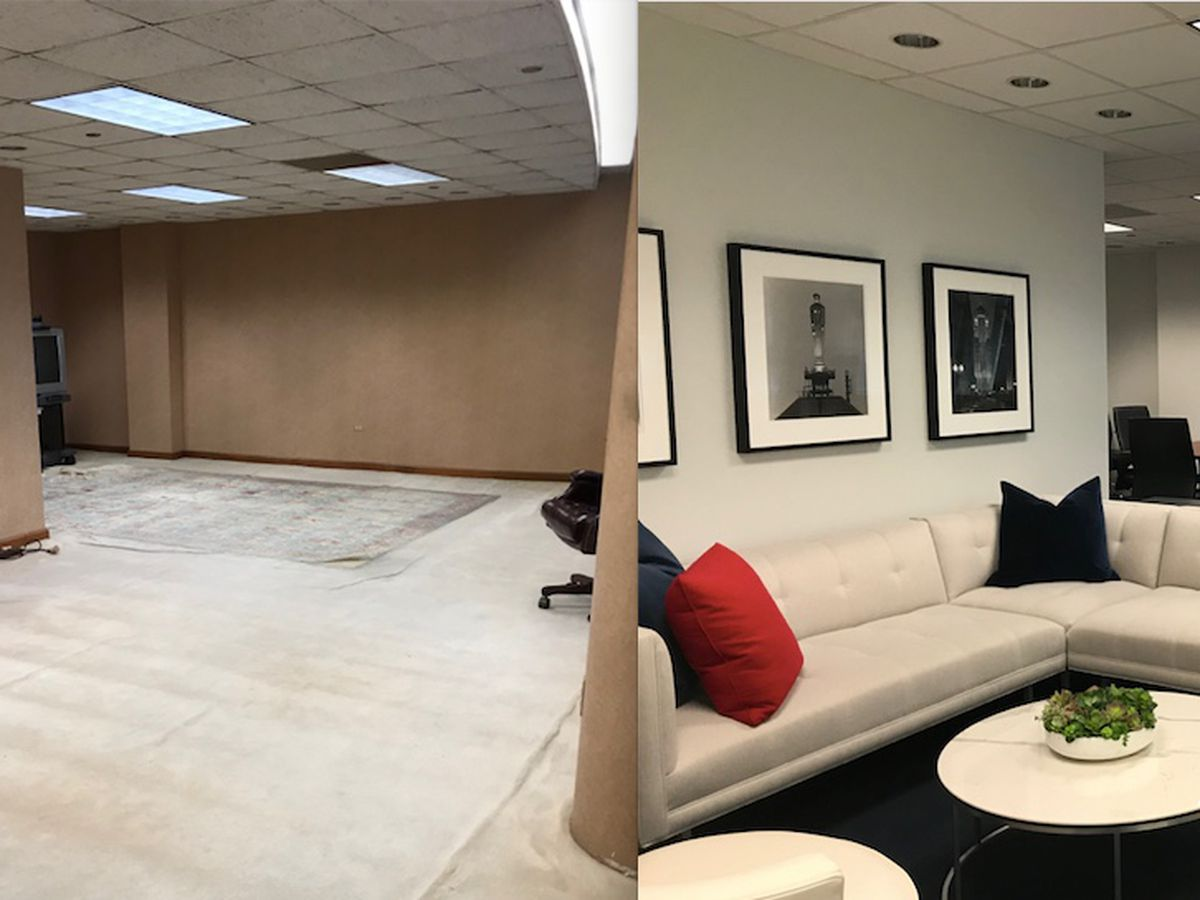 A waiting area outside the governor's offices at the Thompson center before the renovation (left) and after (right).