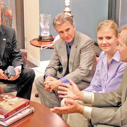 (left to right) Senator Orrin Hatch, John Walsh (host of America's Most Wanted, and father of abducted-and-murdered Adam Walsh), Elizabeth Smart, and Ed Smart.