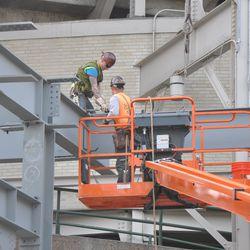 Same girder being secured -