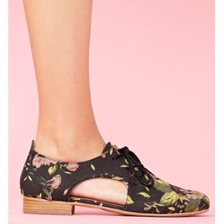 """<b>Nasty Gal</b> Raven Cutout Oxford in rose print, <a href=""""http://www.nastygal.com/product/raven-cutout-oxford/_/searchString/floral#"""">$118</a>"""