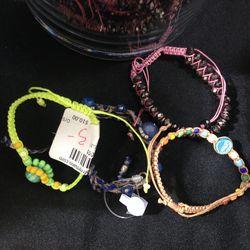 Beaded bracelets, starting at $5