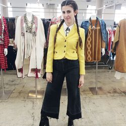 Vintage huntress Jess Harshlady nailed it with wide-leg, raw-hemmed denim and a bright-hued blazer.