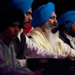 Gurmeet Singh Garib (center) sings a Sikh Temple Chant at the Salt Lake Interfaith Roundtable musical performance at the Salt Lake Tabernacle on Temple Square in Salt Lake City, Utah on Sunday, Feb., 21, 2010.