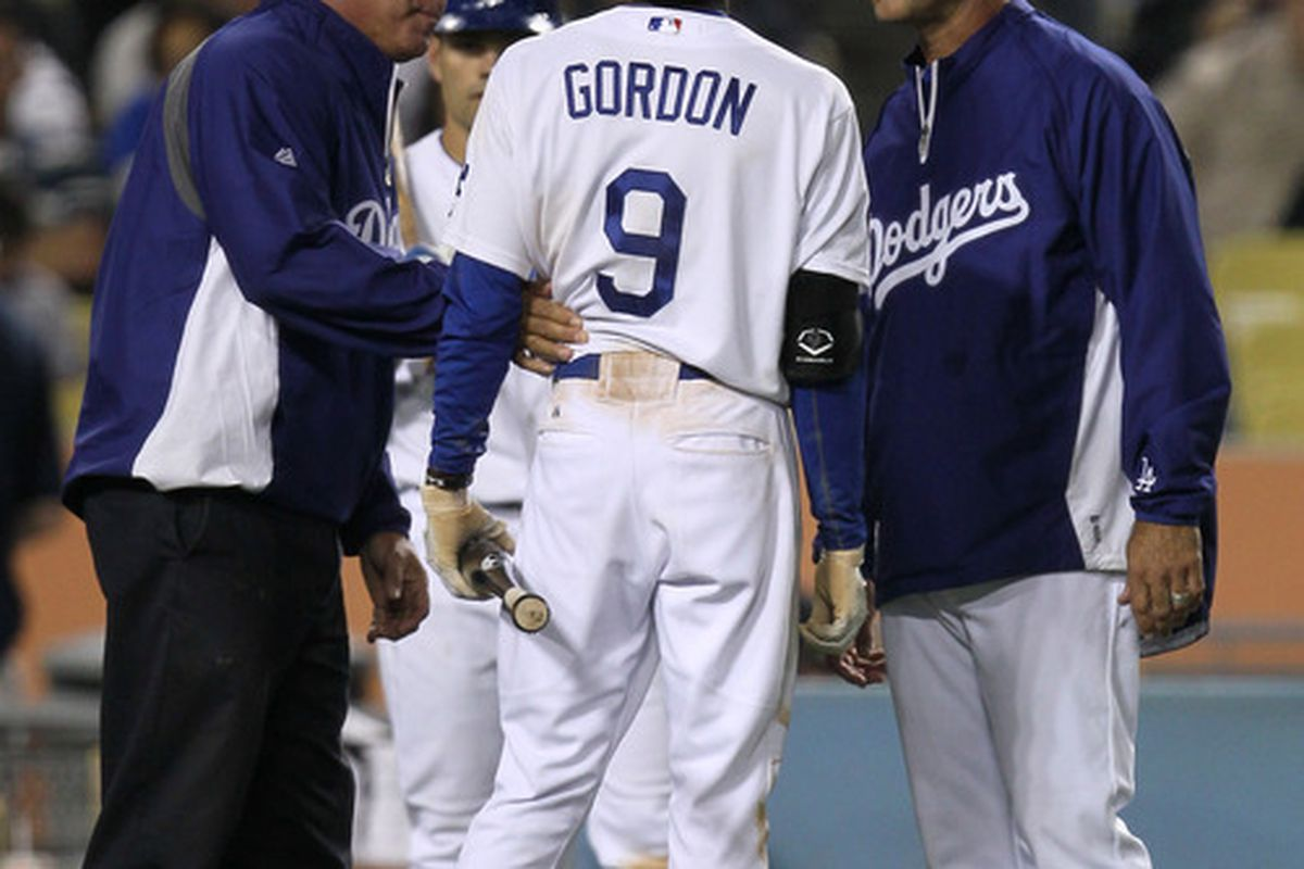 This is starting to become a familiar image to Dodgers fans and Gordon owners...  (Photo by Stephen Dunn/Getty Images)