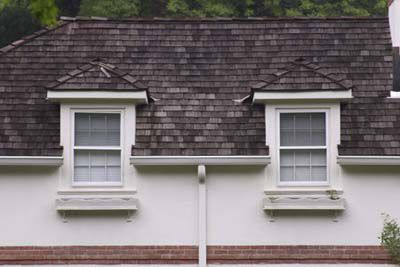 Two wall dormers on a house.
