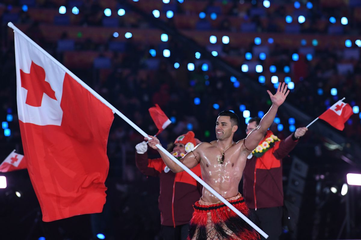 Tonga athlete Pita Taufatofua marches at the opening ceremonies of the 2018 Winter Olympics.