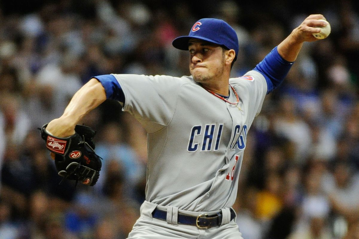 Milwaukee, WI, USA; Chicago Cubs pitcher Chris Rusin pitches against the Milwaukee Brewers at Miller Park. Credit: Benny Sieu-US PRESSWIRE