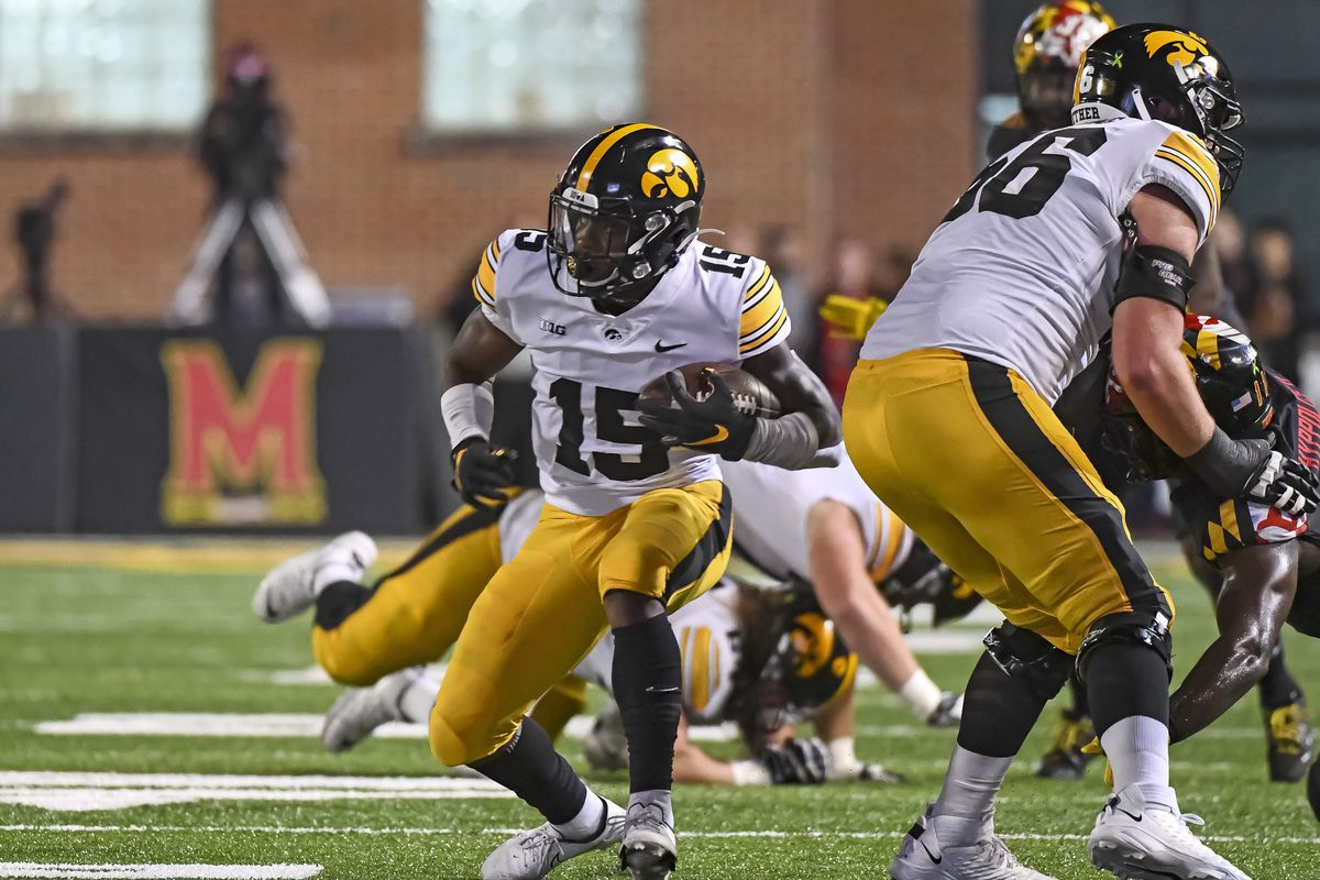 Iowa Hawkeyes running back Tyler Goodson in action during the Iowa Hawkeyes game versus the Maryland Terrapins on October 1, 2021 at Capital One Field at Maryland Stadium in College Park, MD.