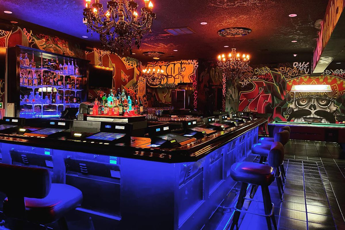 The gaming bar inside Taco Dive Bar, now open for live music, drinks and vegan street food.