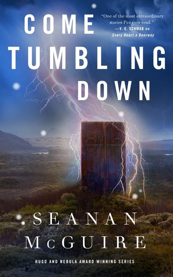 Come Tumbling Down book cover lightning strikes a door standing in the middle of a pasture