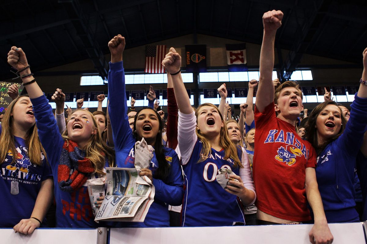LAWRENCE, KS - FEBRUARY 25:  Kansas Jayhawk fans cheer during the game between the Missouri Tigers and the Kansas Jayhawks on February 25, 2012 at Allen Fieldhouse in Lawrence, Kansas.  (Photo by Jamie Squire/Getty Images)