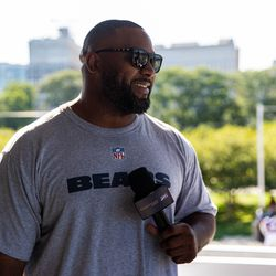 Lance Briggs answered questions during his appearance at the Courtyard by Marriott fan experience.