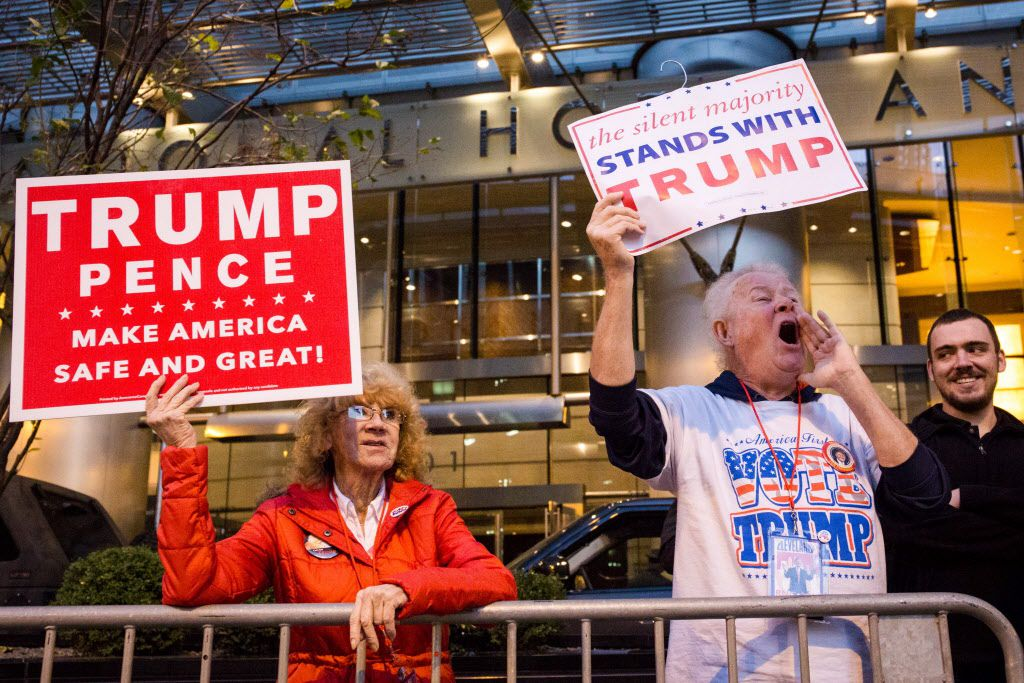 Donald Trump supporters Don and Virginia Petterson, among others, also gathered outside Trump International Hotel and Tower in Chicago on Nov. 9, 2016. | Santiago Covarrubias/Sun-Times