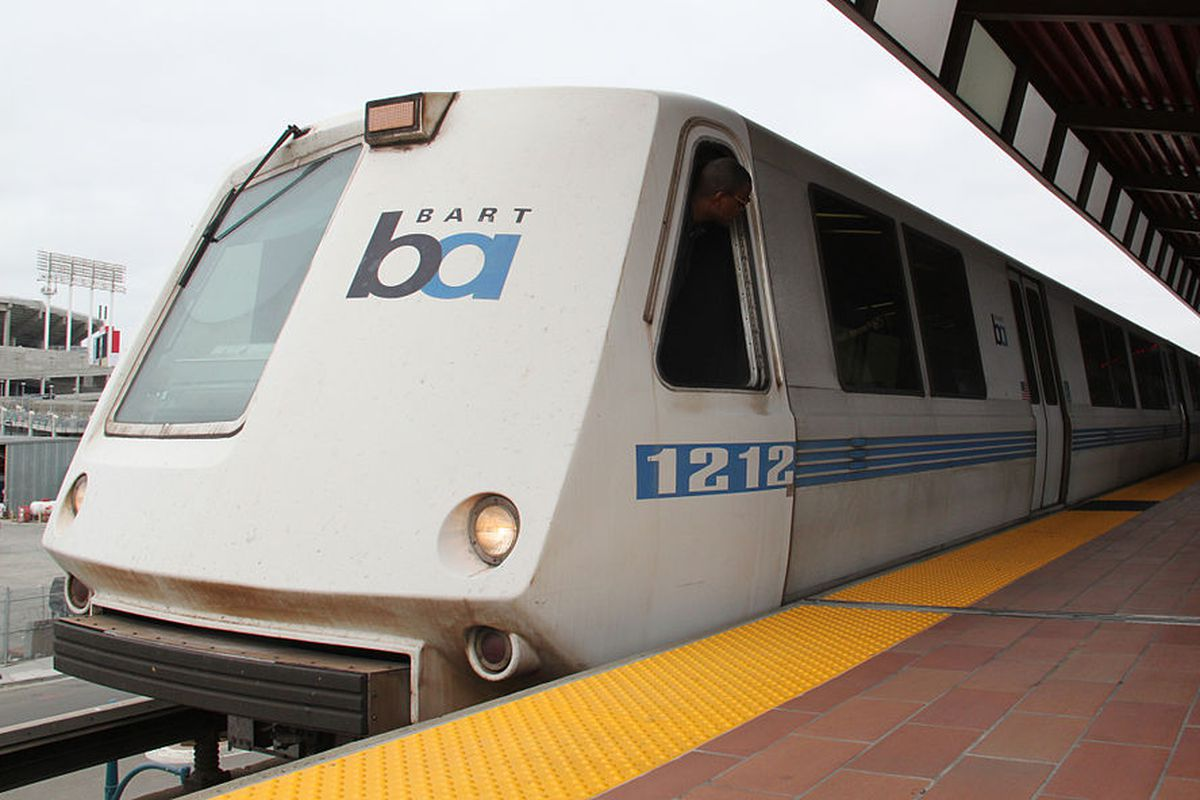 A BART train at the station.